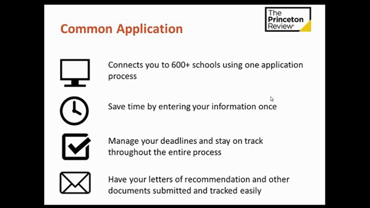 screenshot Common App College Admissions Timeline
